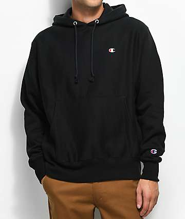 63358f523d98 Champion Reverse Weave Small Logo Black Hoodie