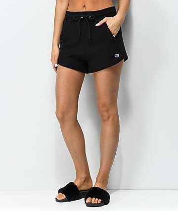 Champion Reverse Weave Small Logo Black Shorts
