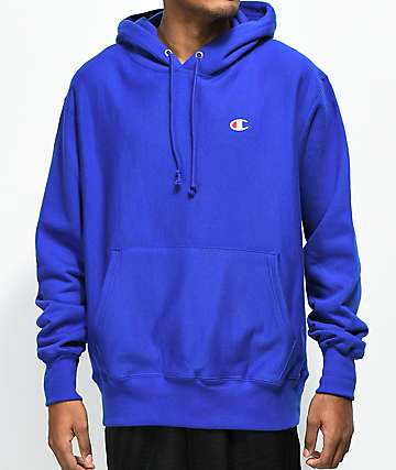 Champion Reverse Weave Small Logo Blue Hoodie