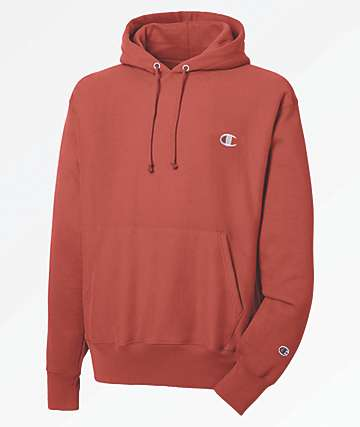 Champion Reverse Weave Small Logo Red Hoodie