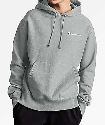Champion Reverse Weave Small Script Embroidered Oxford Grey Hoodie