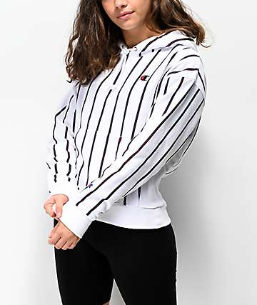 Champion Reverse Weave Stripes White Hoodie
