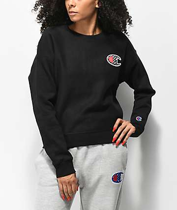 Champion Reverse Weave Sublimated Black Crew Neck Sweatshirt