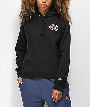 Champion Reverse Weave Sublimated Black Hoodie
