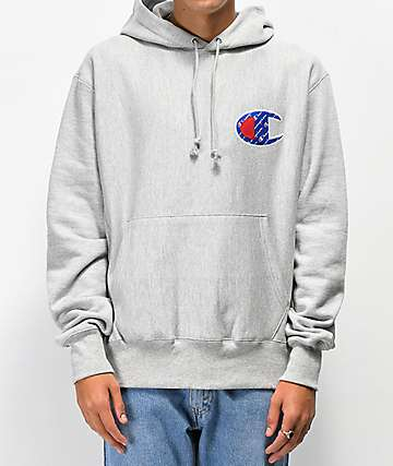 Champion Reverse Weave Sublimated Grey Hoodie
