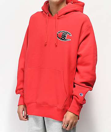 Champion Reverse Weave Sublimated Red Hoodie