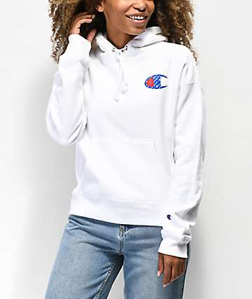 Champion Reverse Weave Sublimated White Hoodie