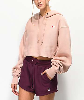 Champion Reverse Weave Tinted Tan Crop Hoodie