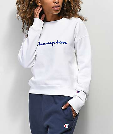 Champion Reverse Weave White Crew Neck Sweatshirt