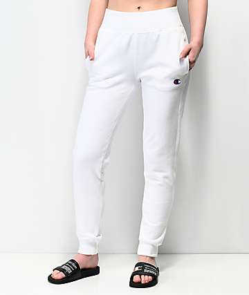 Champion Reverse Weave White Jogger Sweatpants
