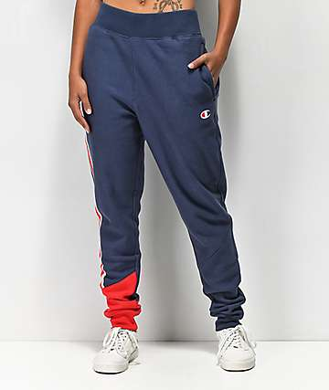 Champion Reverse Weave joggers azules y rojos