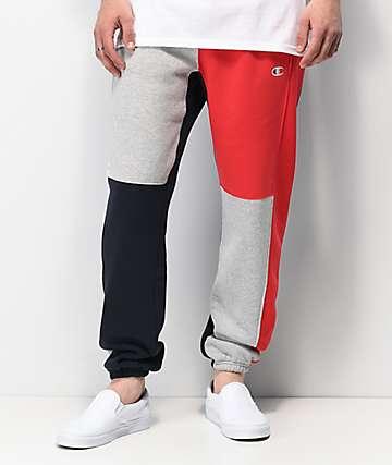 Champion Reverse Weave pantalones deportivos en rojo, gris y negro