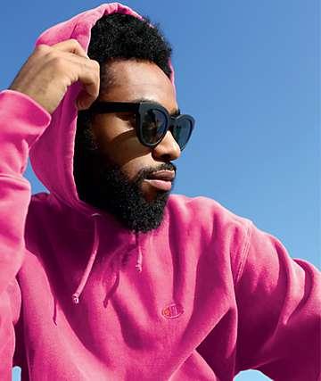 Champion Reverse Weave sudadera con capucha con teñido rosa