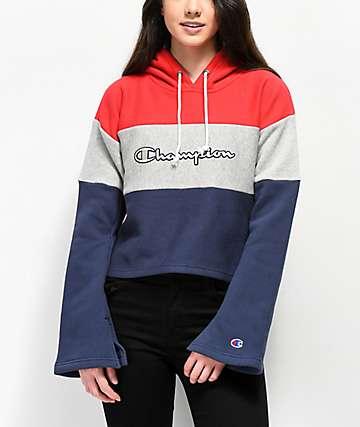 Champion Reverse Weave sudadera con capucha roja, blanca y azul