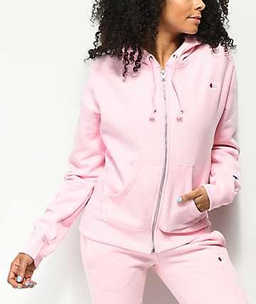 Champion Reverse Weave sudadera rosa con capucha y cremallera