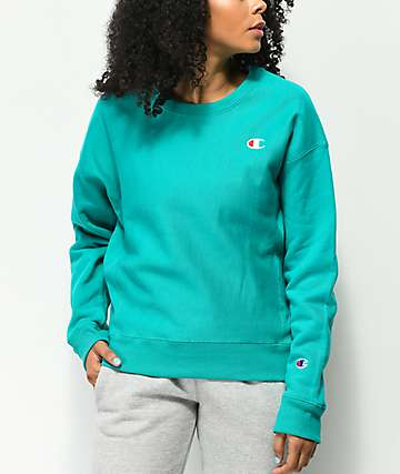 Champion Reverse Weave sudadera verde azulado con cuello redondo