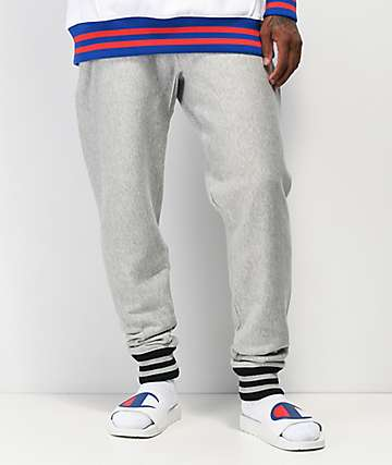 Champion Rib Trim Grey & Black Jogger Sweatpants