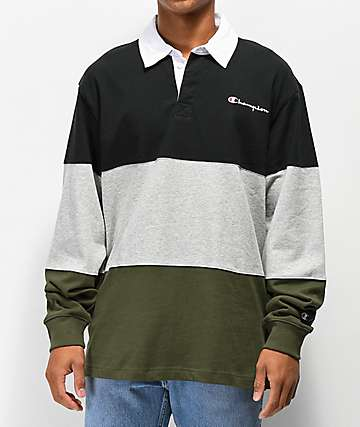 Champion Rugby Black, Grey & Green Long Sleeve T-Shirt