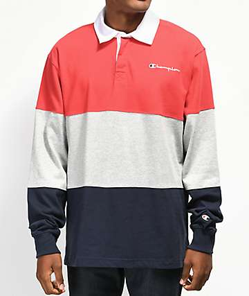 Champion Rugby Red, Grey & Navy Long Sleeve T-Shirt