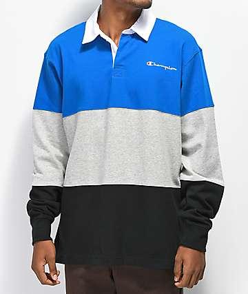 Champion Rugby camiseta de manga larga azul, gris y negra