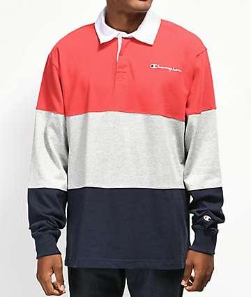 Champion Rugby camiseta de manga larga azul marino, rojo y gris