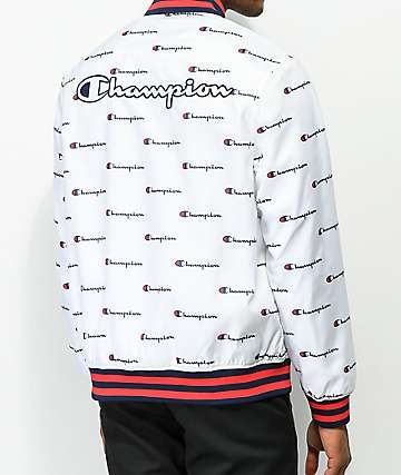 Champion Satin Allover Logo Print White Baseball Jacket