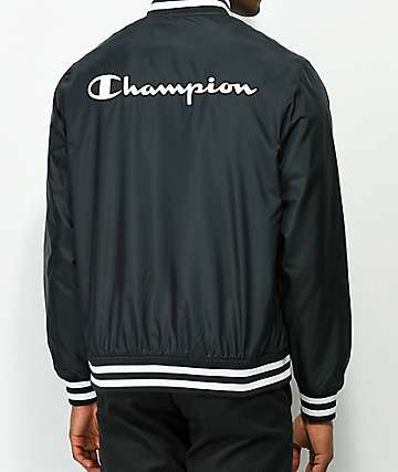 Champion Satin Black Baseball Jacket