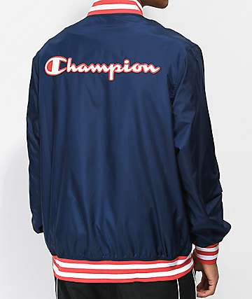 Champion Satin Deconstructed Navy Baseball Jacket