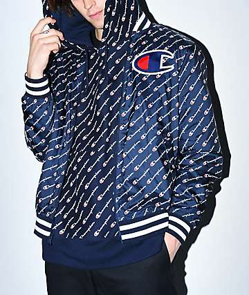 Champion Satin Navy Baseball Jacket