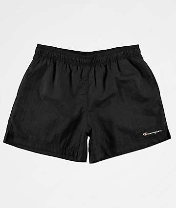 Champion Script Black Nylon Shorts