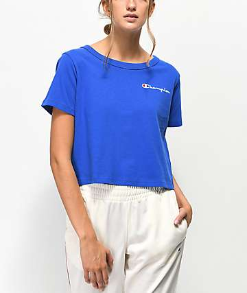 Champion Script Blue Crop T-Shirt