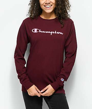 Champion Script Burgundy & Pink Long Sleeve T-Shirt
