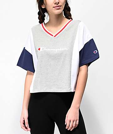 Champion Script Colorblock Grey, Blue & White Crop T-Shirt