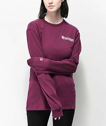 Champion Script Dark Purple Long Sleeve T-Shirt