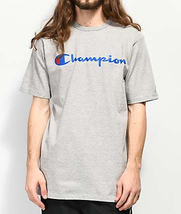 Champion Script Heather Grey Navy Logo T-Shirt