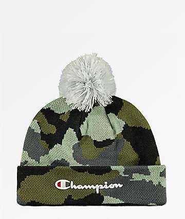 Champion Script Knit Pom Camo Beanie