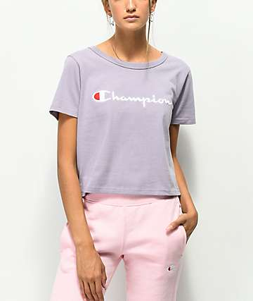 Champion Script Lilac Crop T-Shirt