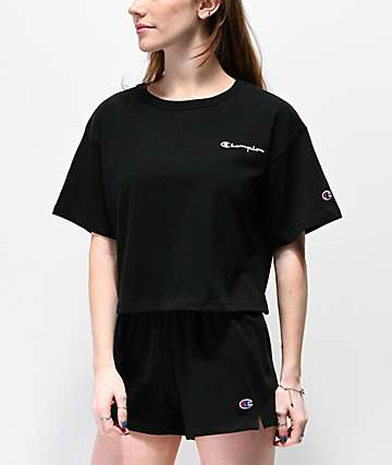 Champion Script Logo Black Crop T-Shirt