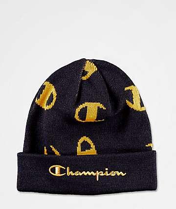 Champion Script Logo Navy & Gold Beanie