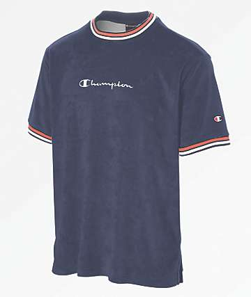 Champion Script Logo Navy Terry Ringer Shirt