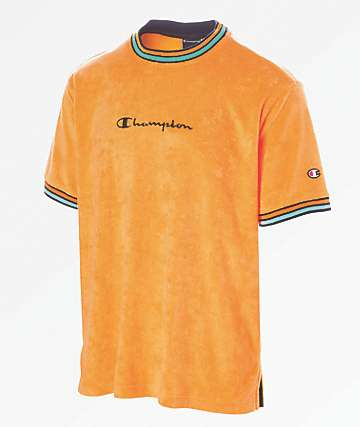 Champion Script Logo Orange Terry Ringer Shirt