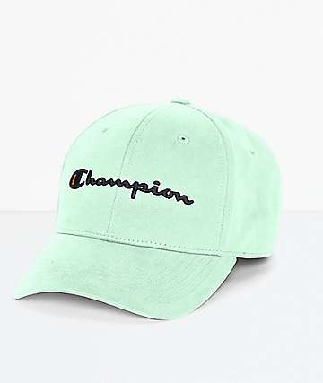 Champion Script Logo Waterfall Green Strapback Hat