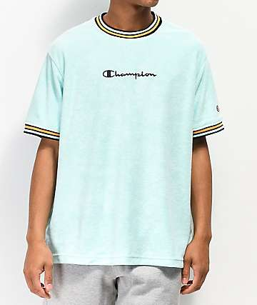Champion Script Logo Waterfall Green Terry Ringer Shirt