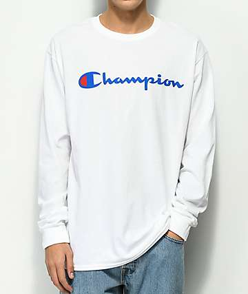 Champion Script Logo White Long Sleeve T-Shirt