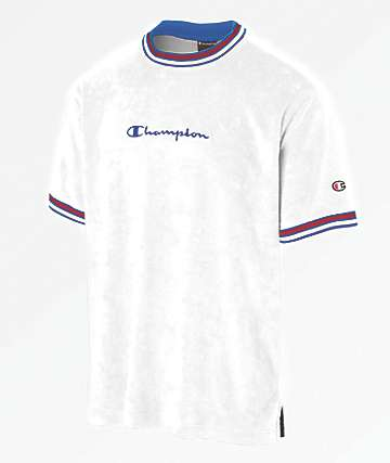 Champion Script Logo White Terry Ringer Shirt