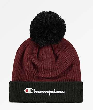 Champion Script Maroon & Black Knit Pom Beanie