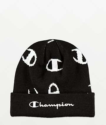 Champion Script Print Black & White Beanie