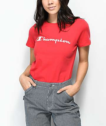 Champion Script Red & White T-Shirt