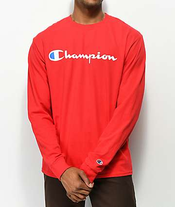 Champion Script Red Long Sleeve T-Shirt