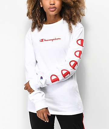 Champion Script White Long Sleeve T-Shirt